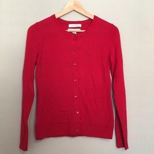 Ellen Tracy 100% Merino Wool Red Cardigan